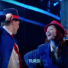 Ksenia Parkhatskaya and Sven Otten a Sanremo durante lo spot TIM